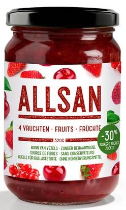 Allsan broodbeleg 320g 4-vruchten
