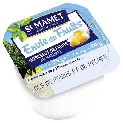 St Mamet dés de poires/pêches 100ml x 120 s/sucre