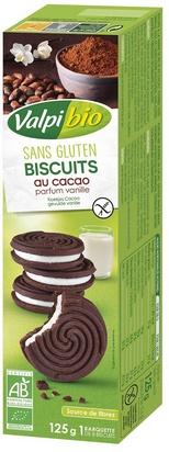 Valpi bio biscuit cacao fourrés vanille 125g