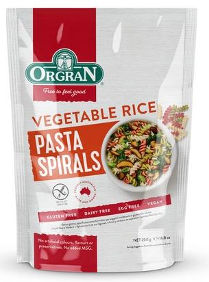 Orgran pâtes de riz aux légumes fusilli 250g