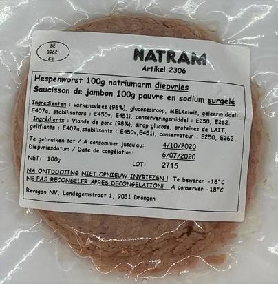 Natram saucisson de jambon ps/maigre 100gx10 surg