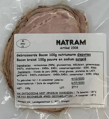 Natram bacon braisé ps/maigre 100gx10 surg